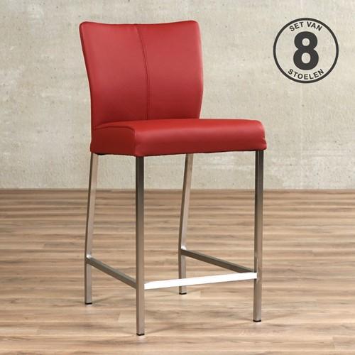 Leren barstoel Revolt laag - set van 8 stoelen - Toledo Leer Red - Kleur poot, RVS