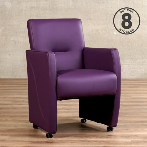 Leren eetkamerfauteuil Pleasure - set van 8 stoelen - Toledo Leer Aubergine - Met handgreep met armleuning en wieltjes