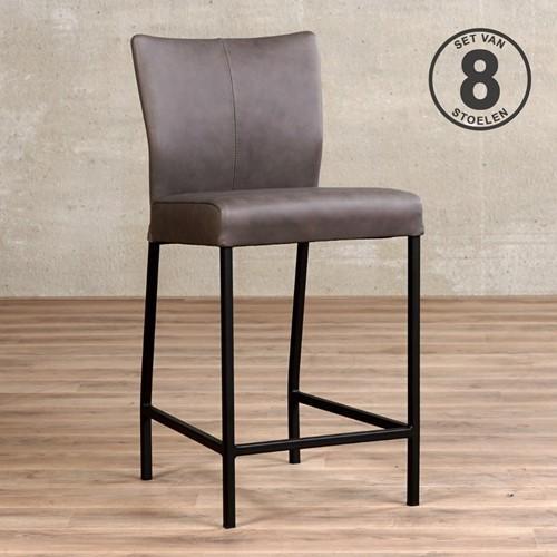 Leren barstoel Revolt laag - set van 8 stoelen - Rancho Leer Steel - Kleur poot, zwart