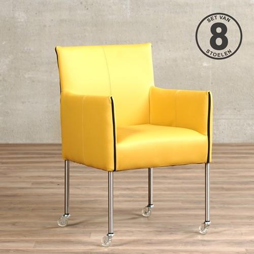 Leren eetkamerstoel More - met wieltjes - set van 8 stoelen - Toledo Leer Lemon - Kleur poot, RVS - Skate wiel transparant