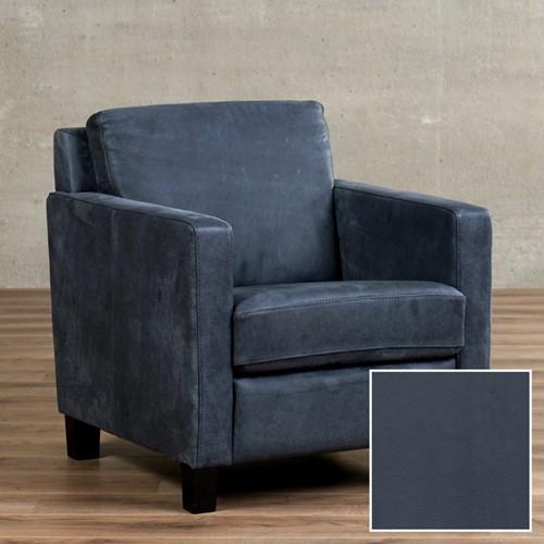 Leren fauteuil Smart - Granada leer Blue - Hout - Zwart