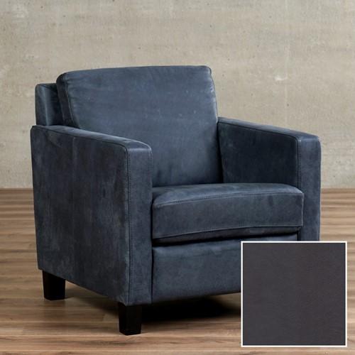 Leren fauteuil Smart - Granada leer Graphite - Hout - Zwart