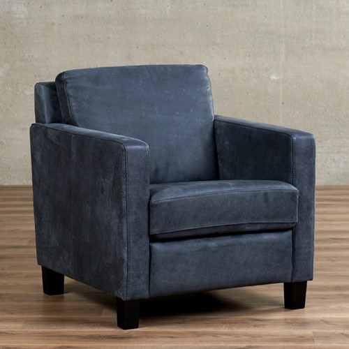 Leren fauteuil Smart - Kenia Leer Denim - Hout - Zwart