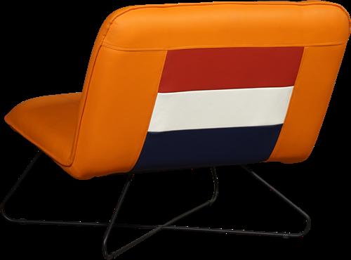 Leren WK stoel - Oranje met Nederlandse vlag