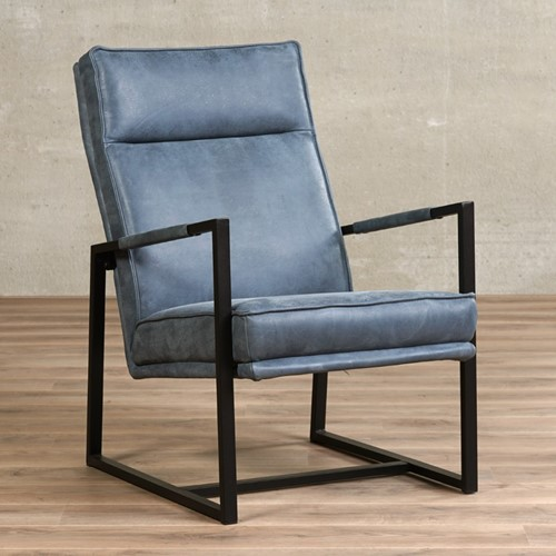 Leren fauteuil Square - Kenia Leer Denim