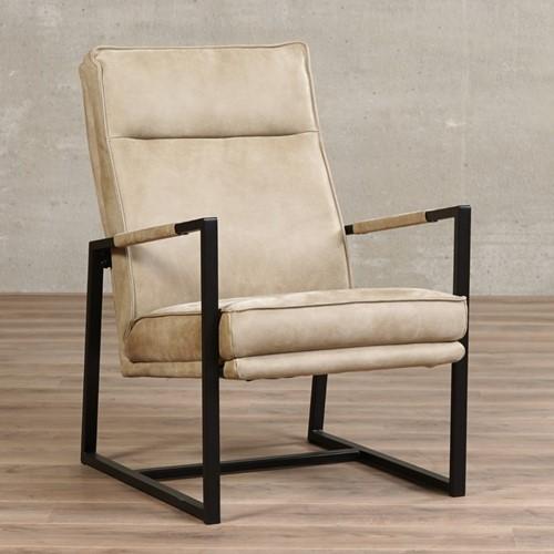 Leren fauteuil Square - Kenia Leer Taupe
