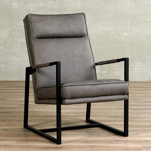 Leren fauteuil Square - Rancho Leer Steel