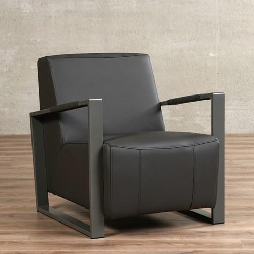 Leren fauteuil Touch - Toledo Leer Antracite - Frame grijs