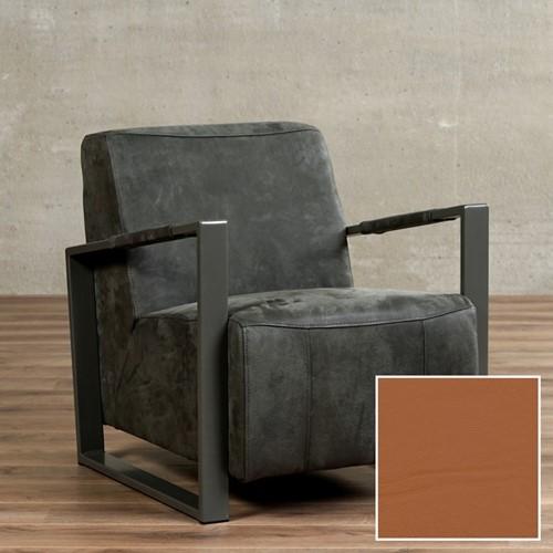 Leren fauteuil Touch - Hermes Leer Cognac - Frame grijs