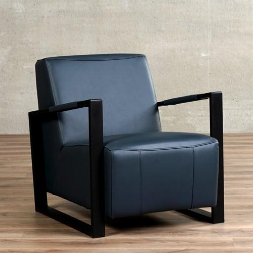Leren fauteuil Touch - Toledo Leer Marine - Frame zwart