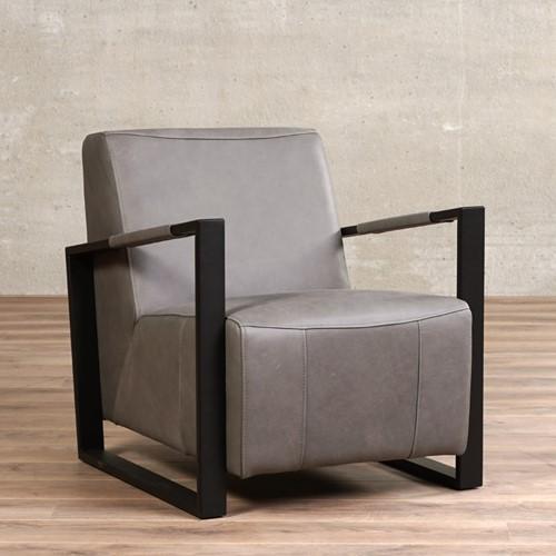 Leren fauteuil Touch - Rancho Leer Steel - Frame zwart